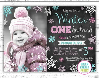 Winter Onederland Invitation - Digital File - Printable - Pink and Teal - Snowflake - Girl's First Birthday Invitation