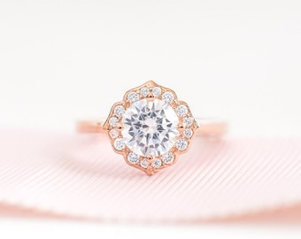 Rose Gold Promise Ring - Unique Engagement Ring - Vintage Round Cut CZ Ring - Sterling Silver engagement Ring - Art Deco Rose Gold Ring