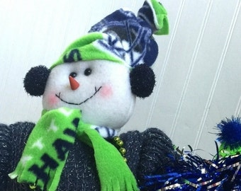 Seattle Seahawks Snowman,Seahawks Football,Russell Wilson Number 3 Fan,Handmade NFL Fabric Clothes,NFL Colors Blue and Green,Ready to Ship