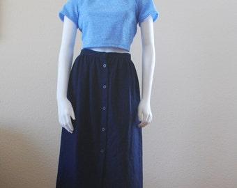 navy midi button front skirt