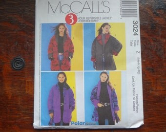 UNCUT McCall's 3024 Misses SizeZ Med-Lg-Xlg 3 Hour Reversible Jacket Sewing PATTERN