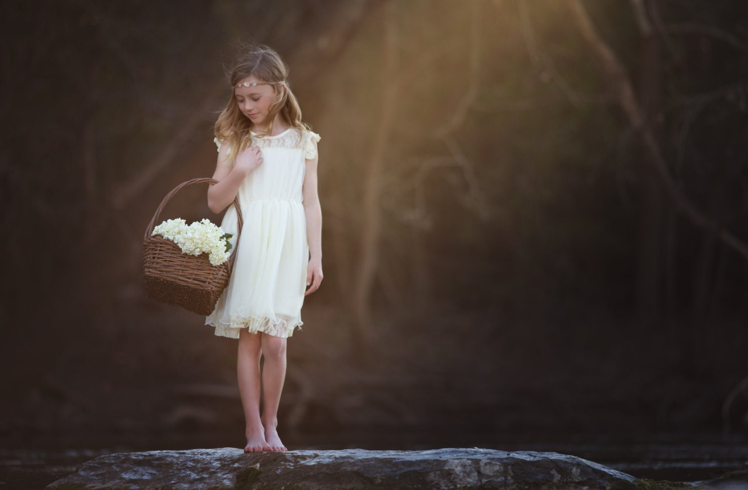 Cream Lace Flower Girl Dress Rustic Girls by CountryCoutureCo