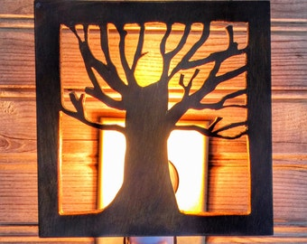 Tree Silhouette Nightlight, Dark Wood, Wooden Night Light, Rustic Lighting