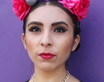 Pink Purple Flower Crown Headband (Mexican Costume Day of the Dead Headpiece Rave Mexico Sugar Skull EDM Costume Goth Gothic)