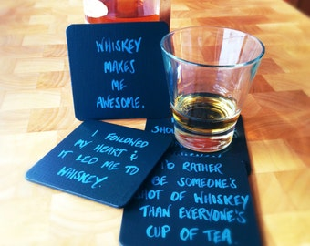 Whiskey Coasters, St. Patrick's Day Gift, Whiskey Gifts, Whiskey Lover Gifts, Gifts for Whiskey Drinker, Gifts for Him, Whiskey Gift