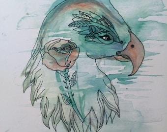 print of original watercolor and ink hawk w/ rose