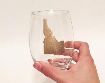 Glitter - Custom State Outline Heart Stemless Wine Glass Gold Sparkly Shimmer - Idaho