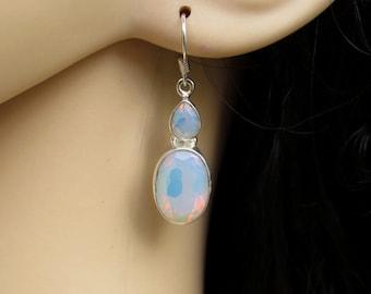 Opalite Earrings, Stone of Eternity, Opalite Jewelry, Fire opalite, Silver Earrings, Gift for Her