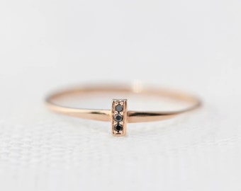 Black diamond bar ring in 14k gold, minimalist ring tiny pave diamonds ring, mini bar ring, stacking ring, rose gold, bar-r101-3 (bdia)