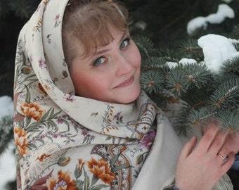 Russian wedding Shawl Pavlovo Posad White green Wool oversized Vintage Babushka Scarf 58'' Victorian Piano Boho Folk Floral New with tag