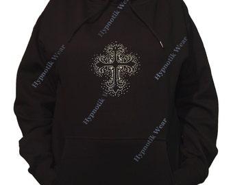 "Rhinestone Women's Pullover Hoodie "" Black Cross Splash Pattern in Rhinestones and Rhinestuds "" Sweatshirt Sm to 3X"