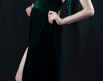 Velvet Emerald Maxi Slit Dress
