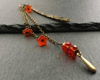 Delicate Bronze Chain Bookmark, Orange Beaded Book Mark, Flower Book Charm