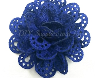 3 inch Royal blue cut out fabric flower - Large flowers for headband or hair clip diy - Wholesale craft flowers for wedding - Flower heads
