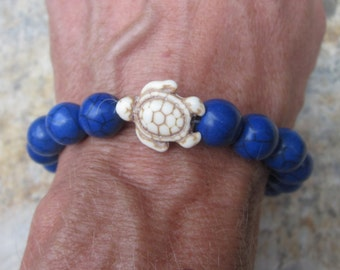 turtle bracelet white sea turtle blue stone beaded bracelet rustic beads stretch bracelet stacking bracelet beach turtle bracelets