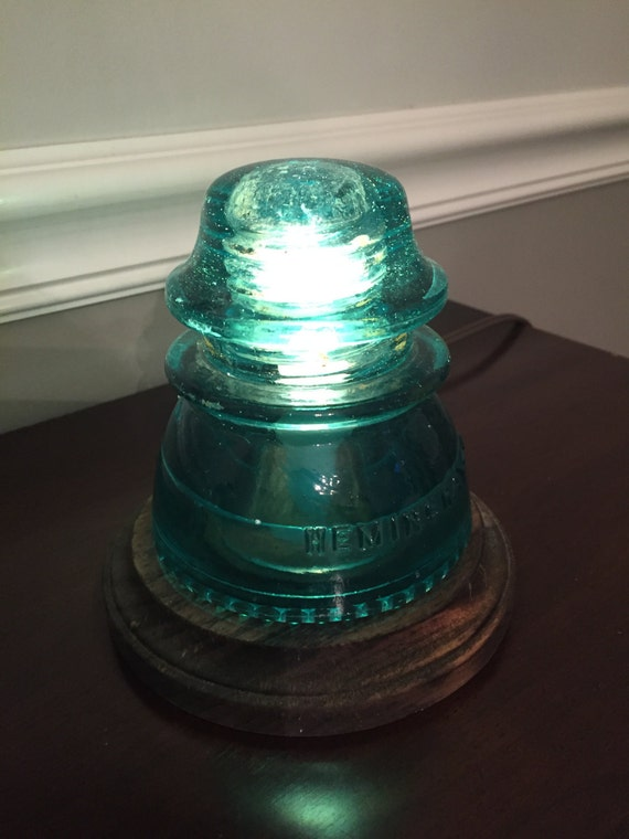 antique railroad insulator night light
