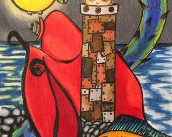 Childrens art, story art, colored pencil art, original colored pencil, character art, meg hein, comic book art, fairy tale art, surreal art,