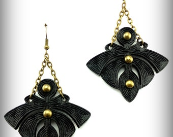 Black Lolita Earrings - Laser Engraved Leather Earrings - Nouveau Gothic