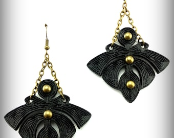 Black Lolita Earrings - Laser Engraved Leather Earrings - Nouveau Gothic