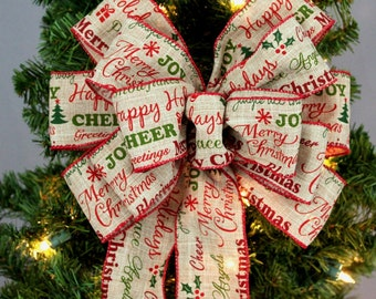 Holiday Script Burlap Christmas Bow - Rustic Christmas Bows, Christmas Wreath Bow, Christmas Garland Bow, Christmas Tree Bow