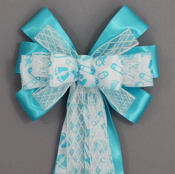 blue baby feet baby shower bow decorations