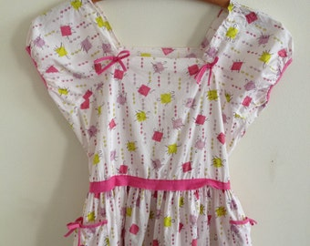 1950s Crisp Cotton Novelty Print Girls Dress/ Pink and Lime Print with Squares and Diamonds/10-12 year old