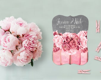 Shabby Chic Save The Date Cards for Shabby Chic Weddings / PRINTED Save The Date Card / Coral Pink Peonies on Chalkboard