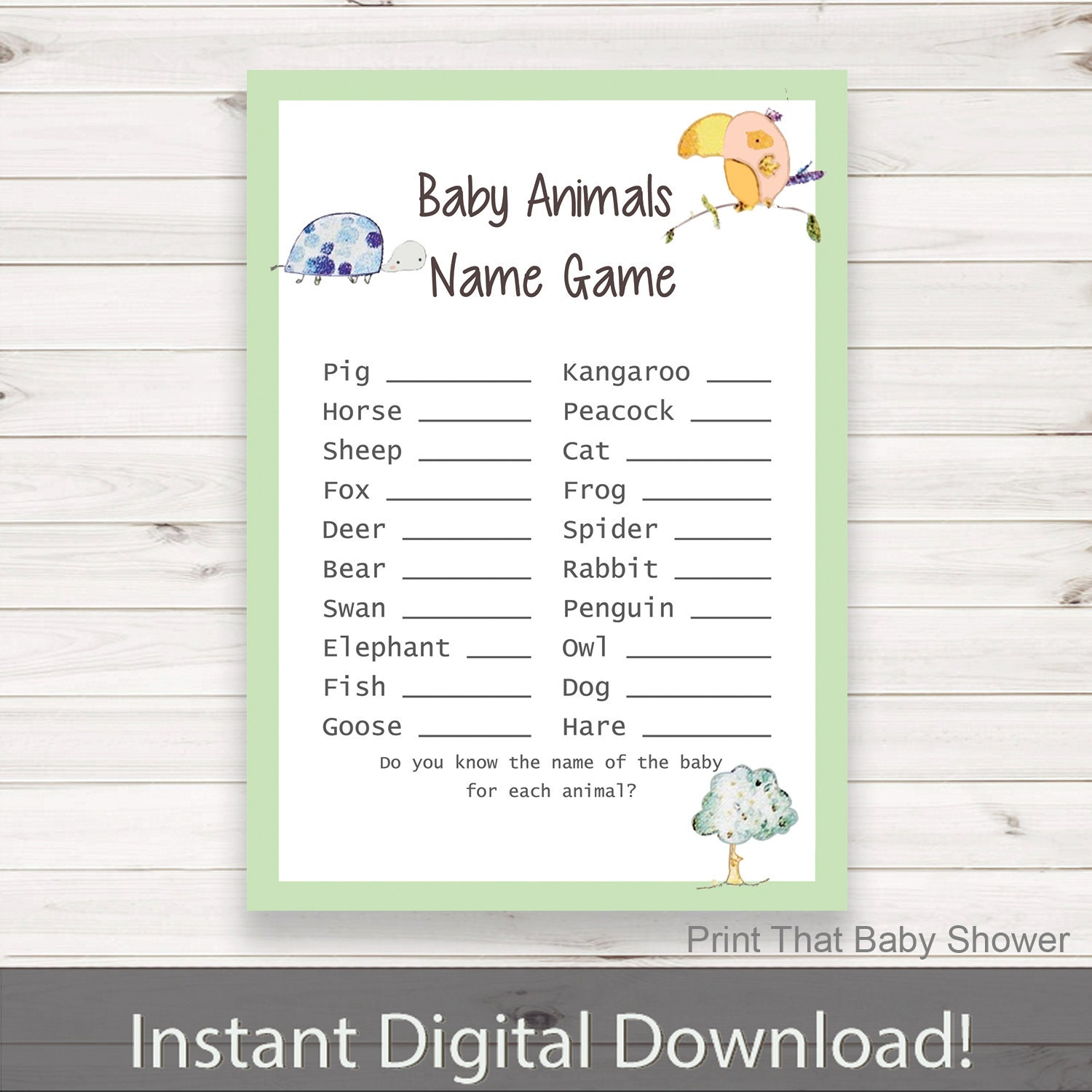 Baby Shower Game Name The Baby Animal: Baby Shower Games Baby Animals Name Game Jungle Baby