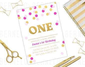 Pink and Gold 1st Birthday Invitation Girl, gold glitter first birthday invitation, pink gold confetti invitation