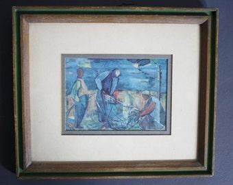 The Fishermen - Mid Century Framed Art