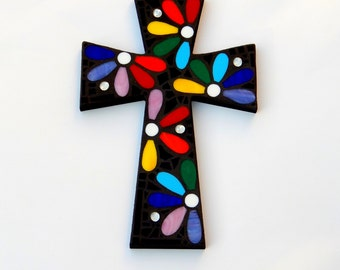 """Mosaic Wall Cross, Large, Rainbow Floral Design, """"Daisies"""", Handmade Stained Glass Mosaic Cross Wall Decor, 15"""" x 10"""""""