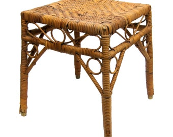 Vintage Bohemian Boho Bamboo Wicker Rattan Woven Planter, Wicker Table, Plant Stand, Stool, Side Table