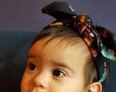 Navy Blue Floral Headband - Tie Turban Headband, Baby Headband, Top Knot Headband, baby accessories, baby gift, baby shower gift idea