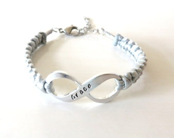 Grace Infinity Hand Stamped Bracelet You Choose Your Cord Color(s)