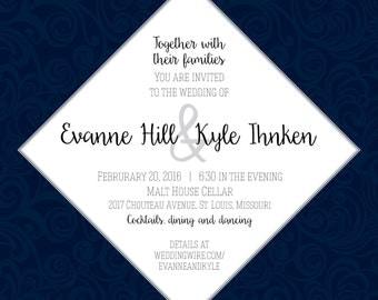 Square navy wedding invitation and RSVP postcard