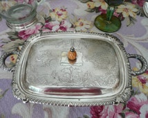 Vintage Silver Plate Bowl/Dish/Casserole w Ornate LID~Bakelite Pineapple Knob~4 Feet & Handles!  Adorable~Handy~Practical~Storage/Decor!