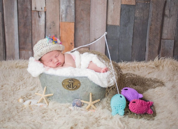 Baby girl fisherman crochet outfit hat gone fishing hat for Baby fishing outfit