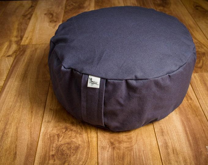 Meditation cushion pouf zafu Gray Plain Organic Buckwheat floor pillow with lining - handmade by Creations Mariposa ZP-GU