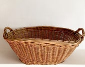 French Antique Laundry Basket - Small Size - Vintage French Basket - Handwoven Basket - Wicker Basket - French Willow Basket - Boulanderie