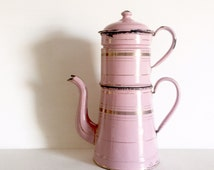 French Vintage Pink Enamelware Coffee Pot - Cafetière - Pink Enamel Tiered Coffee or Tea Pot - Shabby Chic Enamelware collectible