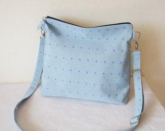 Blue spot zip Messenger Bag, Beautiful, Cross body, adjustable, Pale Blue spot Canvas fabric Purse Limited Edition Handbag handmade