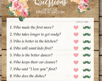 Rustic Watercolor Floral and Wood Ten Questions Bridal Shower & Wedding Game
