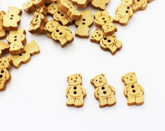 Teddy Bear Wood Button, Children Button, Baby Button, Animal Button, Natural Wooden Buttons, Two Holes Sew Button, Cute Button, 20mm