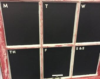 Red Chalkboard Rustic Window Calendar