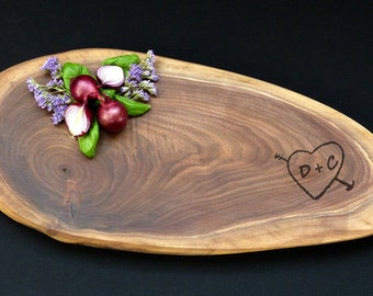 Tree Slice Personalized Cheese Board   Rustic Wedding   Walnut Disc   Live Edge Cutting Board 16 X 7 -
