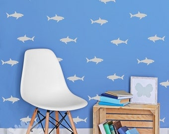 Attirant Shark Wall Decal / Sharks Pattern Wall Decal / Sharks Sticker / Interior  Decal