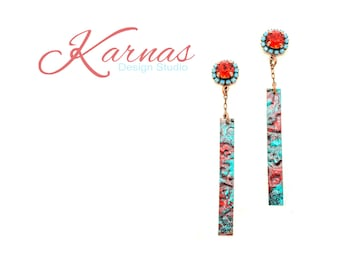 URBAN COWGIRL 8mm Crystal Red & Turquoise Earrings Made With Swarovski Elements *Antique Copper *Karnas Design Studio *Free Shipping