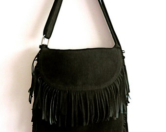 Black Faux Suede 60s/70s Fringed Bag