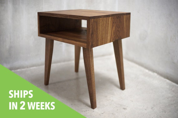 Solid black walnut side table nightstand with tapered legs