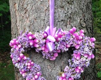 "12"" Handmade Heart Shaped Wreath, Purple, Raspberry, Lavendar, Dried Flowers, Statice, Gomphrena, Moss, Ribbon, Wedding Decor, Housewarming"